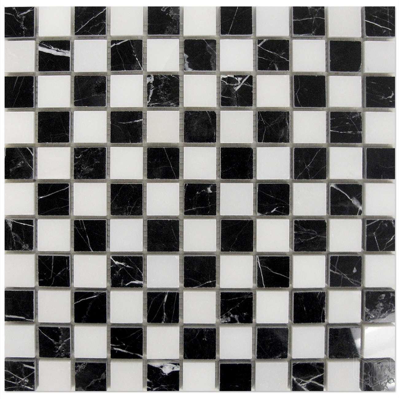 Nero Marquina Mosaic 1 215 1 With White Dots Checker Board